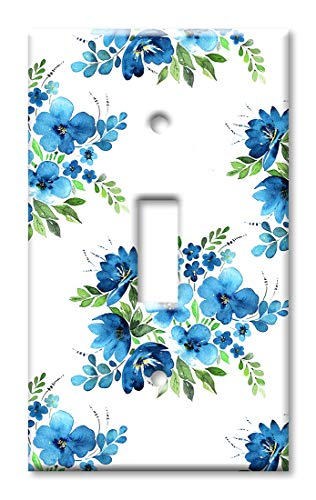 Art Plates 1 Gang Toggle Wall Plate - Blue Flower Toss