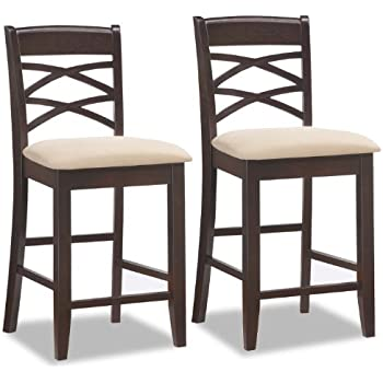 Leick wood double cross back counter height - Amazon bedroom chairs and stools ...