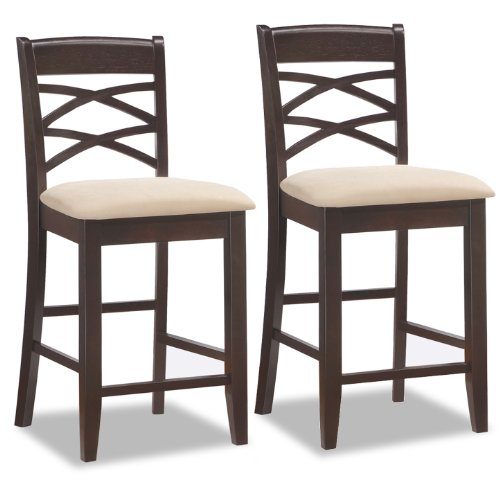 (Leick Wood Double Cross Back Counter Height Bar Stool with Beige Microfiber Seat, Set of 2)
