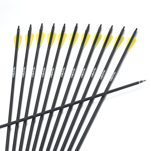 Misayar 12 Pcs 30 Inch Carbon Arrow Fletched 3 Inch Vane with Field Points for Recurve Compound Bow Targeting or Hunting (Pack of 12)