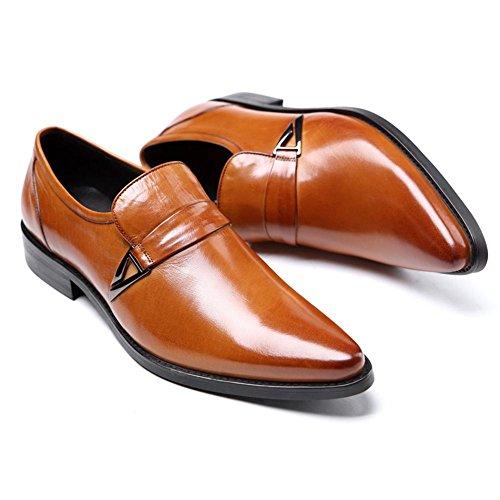 Hombres Cuero Zapatos Puntiagudo Dedo del pie Oxford Encajes Formal Boda Negocio Negro marrón Oficina Trabajo Fiesta Brown