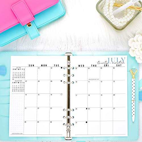 2019 2020 Monthly Dated Planner Inserts | Refill Pages For A5 Size Planners | Sunday Start | 5.83x8.27 inches