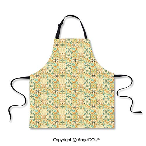 SCOXIXI Kitchen Bib Apron with Adjustable Neck Pale Italian Style Curly Flowers in Squares Artistic Retro Composition Decorative for Grill BBQ Cooking Cosplay Party.