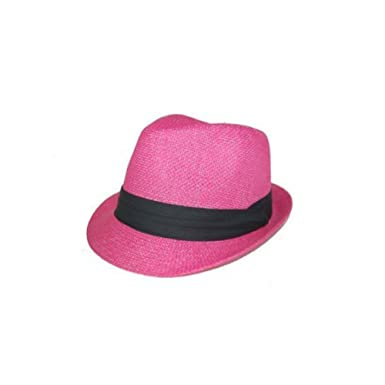 3fbc36e6ee9 Amazon.com  Hot Pink Tweed Fedora Cuban Hat Fun Halloween Costume  Accessories - CCEnterprises  Clothing
