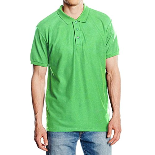Forthery Shirts, Summer Mens Casual Slim Fit Short Sleeve Henley Jersey T-Shirts (US 2XL = Asia 3XL, Green)