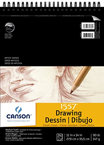 Canson Artist Series 1557 Cream Drawing Paper Pad for Pen, Ink and Graphite Pencil, Top Wire Bound, 90 Pound, 11 x 14 Inch, Cream, 24 - Cream Paper Drawing