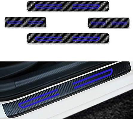 For Ix20 Ix35 I40 Q240 Santafe Sonata Tucson Veloster Door Sill Protector,Kick Plates Pedal Threshold Cover Carbon Fiber Sticker Anti-Scratch Anti-Slip Car Styling 4Pcs Red