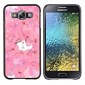 TECHCASE---Cubierta de la caja de protección para la piel dura ** Samsung Galaxy E5 E500 ** --Gatito lindo de la acuarela floral de la primavera