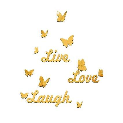 Amazon Com Butterfly Live Love Laugh Mirror Wall Sticker Acrylic
