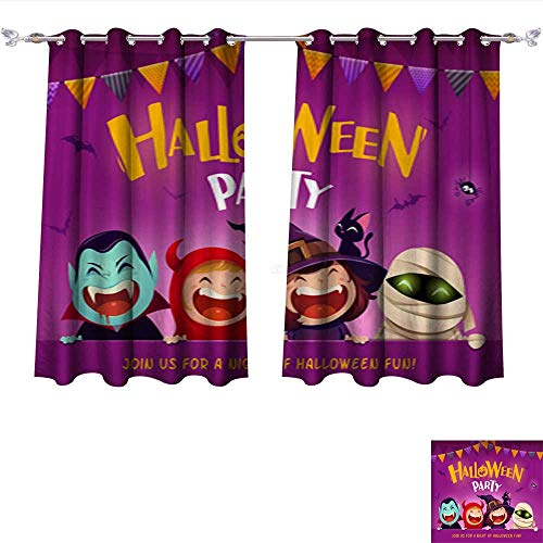 (DragonBui Decorative Curtains for Living Room Halloween Party Group of Kids in Halloween Costume with Big Signboard Blackout Window Curtain Panel W120 x)
