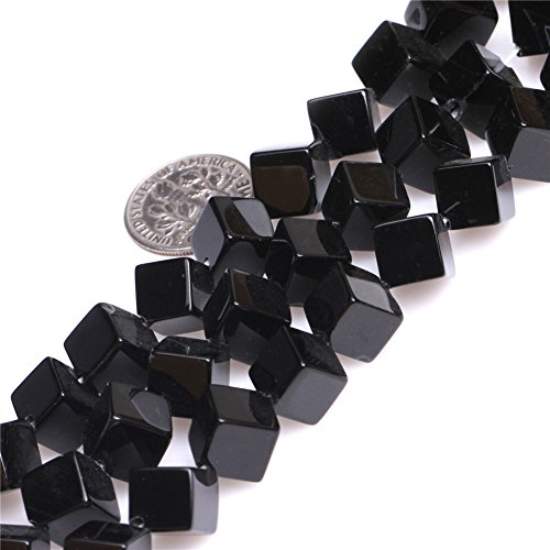 Joe Foreman Black Agate Beads for Jewelry Making Natural Semi Precious Gemstone 7-8mm Cubic Strand 15