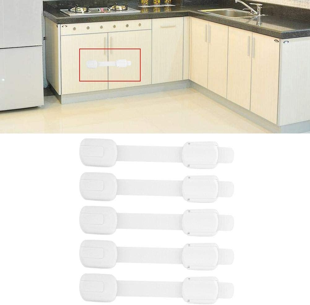 5PCS Children Anti Pinch Safety Proof Multifunctional Adhesive Design Baby Cabinet Drawer Lock with Good Protection for Home Kitchen Laundry Room