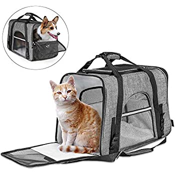 c0e30097f4e026 CLEEBOURG Pet Carrier for Large Cat Dog Bags Travel Carrier Lightweight  Collapsible Animal Carrier Bag Mesh