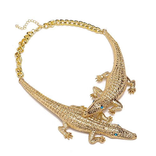 XBY-Jewel Fashion Jewelry Gold Crocodile Chain Rhinestone Choker Statement Collar Necklace Pendant Bib ()
