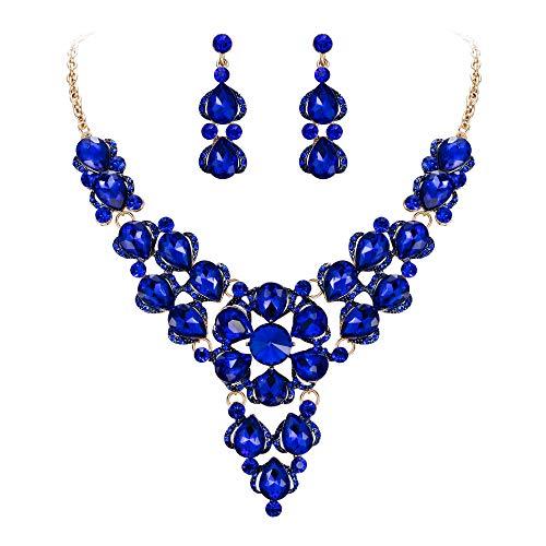 (BriLove Women's Wedding Bridal Crystal Multi Teardrop-Shape Flower Enamel Statement Necklace Dangle Earrings Set Royal Blue Sapphire Color Gold-Tone)