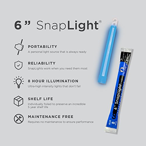 Cyalume SnapLight Blue Glow Sticks – 6 Inch Industrial Grade, Ultra Bright Light Sticks with 8 Hour Duration (Pack of 10)