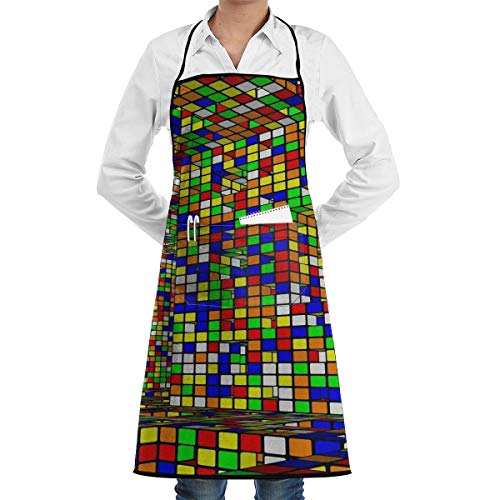 JNSHO-G Gardening Aprons with Convenient Pocket, Rubix Cubes Pattern Bib Apron for Men