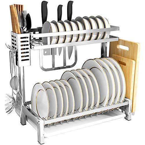 304 Stainless Steel Kitchen Shelf Organiser Standing Tableware Dishes Dish Rack 2 Layers
