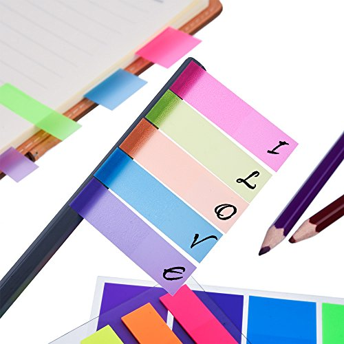 Antner 840 Neon Page Marker Colored Index Tabs Flags Fluorescent Sticky Note for Marking, 6 Stes, 2 Sizes Photo #3