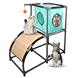 MyfatBOSS Cat Tree, Cat Furniture with Scratch Ramp, Cat Houses & Condos with Toys