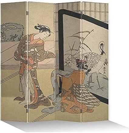 Fine Asianliving Paraventi separatore Divisorio L160xH180cm separare Paraventi Interno divisore Stampato su Telo Decorativo per Locali S/épar/é Cinese Giapponese Orientale Asiatico