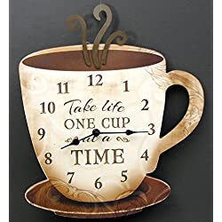 HomeCrafts4U Cup and Saucer Wall Clock Large Kitchen Wooden Coffee Time Decor Christmas Wedding Birthday Gift Ideas Hanging Analog Fun Accent Modern Display