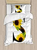 Ambesonne Letter S Duvet Cover Set Twin Size, Letter S with Flora Elements Sunflowers on Dark Colored Abstract Art Print, Decorative 2 Piece Bedding Set with 1 Pillow Sham, Yellow Green Black