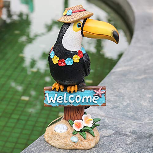 "Teresa's Collections 10.2"" Toucan Welcome Sign Garden Statue,Solar Powered Garden Lights for Outdoor Patio Yard Decorations"