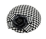 Ahugehome Fascinator Hair Clip Headband Pillbox Hat Vintage Camellia Houndstooth Flower Bow Derby Party (A Black White B)