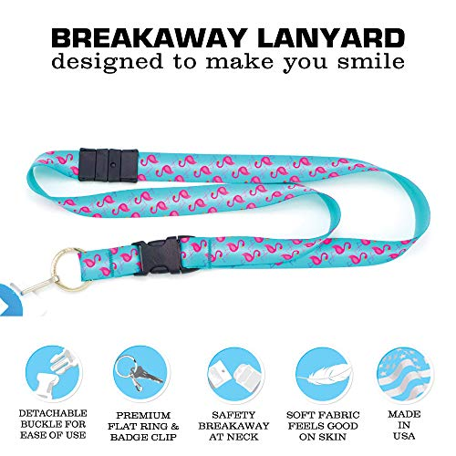 Buttonsmith Flamingos Premium Breakaway Lanyard - Safety Breakaway, Buckle and Flat Ring - Made in USA by Buttonsmith (Image #3)
