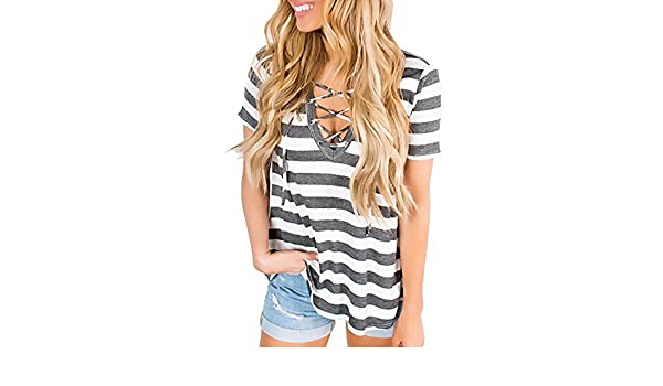 Women Tops Clearance Striped Cross Strap T-Shirts Casual Tees Short Sleeves Loose Blouses A-Line Tunic On Sale (S, Gray) at Amazon Womens Clothing store:
