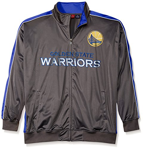 State Track Jacket - NBA Golden State Warriors Men's Reflective Track Jacket, 3X/Tall, Charcoal/Royal