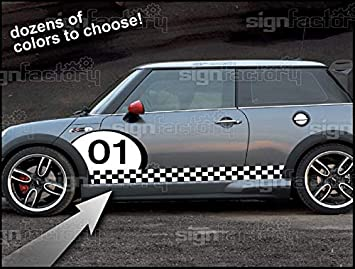 2001 and up Mini Cooper Custom Vinyl Decal Graphics Checkered Flag Stripes #3