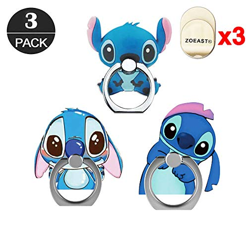 ZOEAST(TM) 3 Pack Phone Ring Grip Lilo Blue Stitch Nani Alien Universal 360° Adjustable Holder Car Desk Hook Stand Stent Mount Kickstand Compatible with iPhone X Plus Samsung iPad Tablet (3pcs Stitch