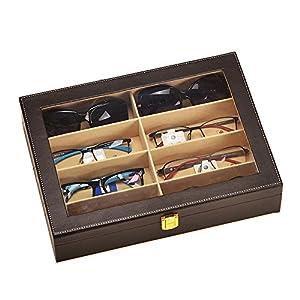 8 Slot Leather Sunglasses Display Case Eyeglasses Organizer Storage Box (coffee)