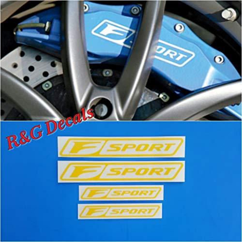 Yellow Decal Set - R&G F-SPORT Brake Caliper HIGH TEMP Decal Sticker Set of 4 Decals (Yellow)