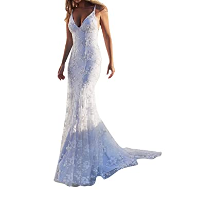 77ad9bfa63e0 Women s Backless Lace Mermaid Wedding Dresses Sexy Deep V Neck Long Maxi  Evening Bridesmaid Chiffon Dress