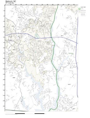 Amazon.com: ZIP Code Wall Map of Belmont, NC ZIP Code Map