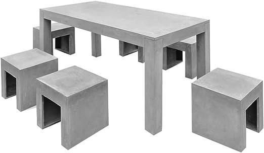 vidaXL Siete Piezas al Aire Libre Juego de Mesa de Comedor sillas ...
