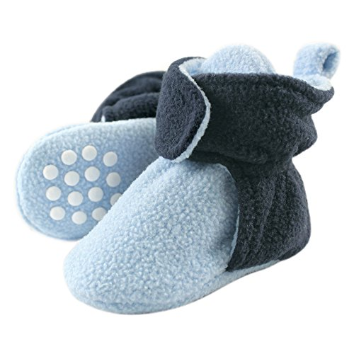Luvable Friends Baby Cozy Fleece Booties with Non Skid Bottom, Light Blue/Navy, 2T