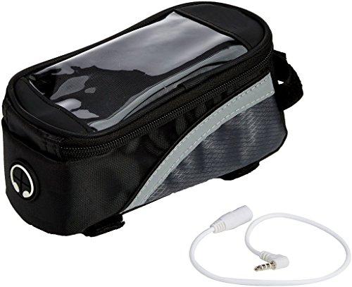 Black Bike Bicycle Handlebar Frame Pannier Front Top Tube Bag Pack Pouch for iPhone X / Samsung Galaxy S8 Active / BLU R2 / S1 / Google Pixel 2 / BLU Studio G3 / BLU Grand M2 / LG K20 V by eBuymore TM
