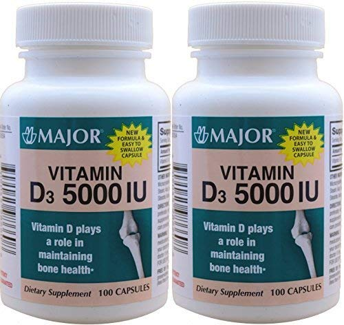 Vitamin D3 as Cholecalciferol 5000 IU Vitamin D Supplement 100 Capsules per Bottle Total 200 Capsules by Major Pharmaceuticals