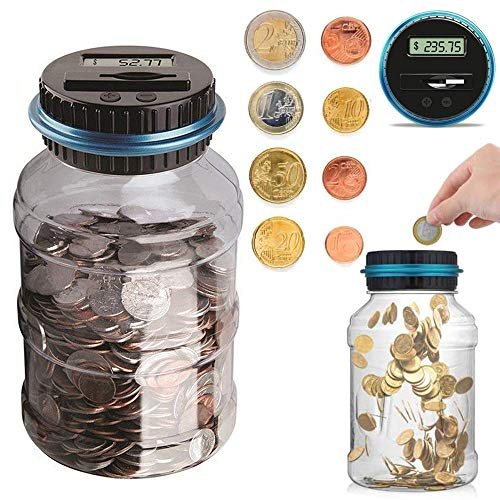 (Houkiper Digital Coin Bank Jar Coin Counter Storage, 1.8L Coin Piggy Saving Bank, Money Saving Box Jar Bank with LCD Battery Coin Counter for Kid Adult Boy Girl As Unique Gift)