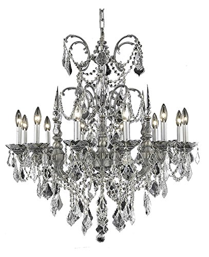 (Elegant Cut Clear Crystal Athena 12-Light, Single-Tier Crystal Chandelier, Finished in Pewter with Clear Crystals)