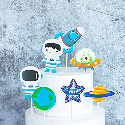 Strange Amazon Com Purearte Diy Happy Birthday Planet Astronaut Rocket Funny Birthday Cards Online Elaedamsfinfo