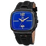 Joshua & Sons Men's JX117BU Black Square Case Swiss Quartz Watch With Blue Dial And Black Leather Strap