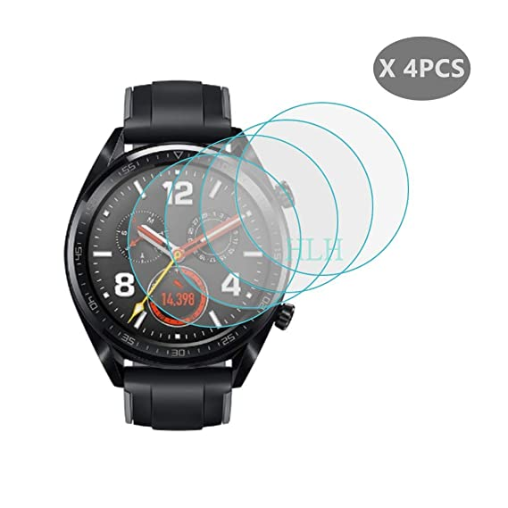 (4 PCS) HLH for Huawei Watch GT Tempered Glass Screen Protector , 9H Hardness Anti-Scratch Screen Protector for Huawei Watch GT Smartwatch