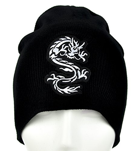 Chinese Bruce Lee Dragon Beanie Alternative Clothing Knit Cap Martial Arts Black ()