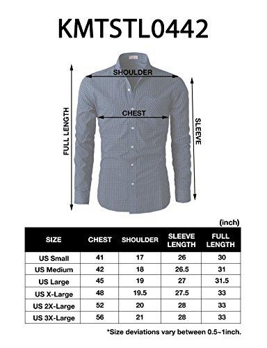 H2H Mens Unique Slim Fit Plaid Patterned Button Down Shirts,KMTSTL0442-RED,US Medium (Asia Large)