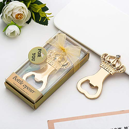 Yuokwer 12 PCS Crown Bottle Opener for Wedding Party Favor with Exquisite Packaging,Beer Accessories for Bridal Shower Party Supplies Gift & Decorations Baby Shower Return Giveaways (Gold Crown, -